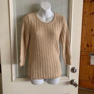 Gap M Sweater Blouse Career Women Tan Long Sleeve